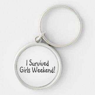 Sobreviví fin de semana de los chicas llavero redondo plateado