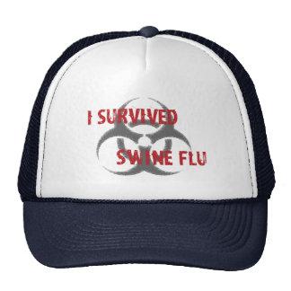 Sobreviví gripe de los cerdos gorros bordados