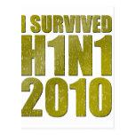 SOBREVIVÍ H1N1 2010 en el oro apenado Tarjetas Postales