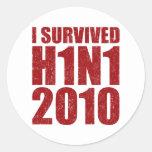 SOBREVIVÍ H1N1 2010 en el rojo apenado Etiqueta Redonda