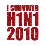 SOBREVIVÍ H1N1 2010 en el rojo apenado Postales