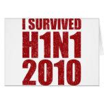 SOBREVIVÍ H1N1 2010 en el rojo apenado Felicitación