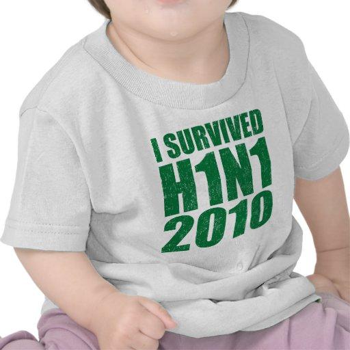 SOBREVIVÍ H1N1 2010 en el verde apenado Camisetas
