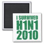 SOBREVIVÍ H1N1 2010 en el verde apenado Imán De Nevera