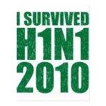SOBREVIVÍ H1N1 2010 en el verde apenado Postal