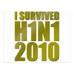SOBREVIVÍ H1N1 2010 en oro Postales