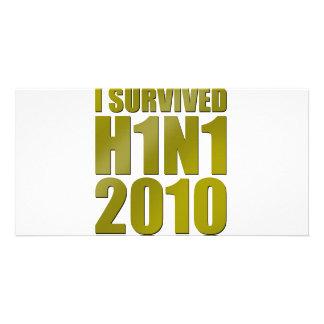 SOBREVIVÍ H1N1 2010 en oro Tarjetas Fotograficas