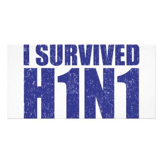 SOBREVIVÍ H1N1 en azul apenado Tarjetas Con Fotos Personalizadas