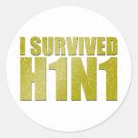 SOBREVIVÍ H1N1 en oro apenado Pegatinas Redondas