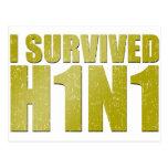 SOBREVIVÍ H1N1 en oro apenado Postales