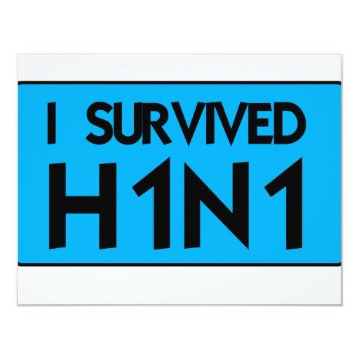 """Sobreviví H1N1 Invitación 4.25"""" X 5.5"""""""