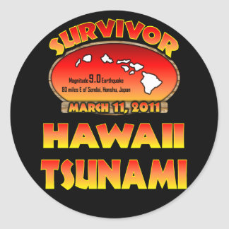 Sobreviví Hawaii tsunami el 3 de marzo de 2011 Pegatina Redonda