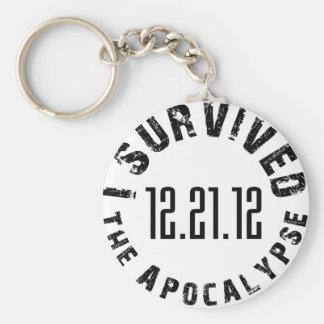 Sobreviví la apocalipsis 12.21.12 llavero redondo tipo pin