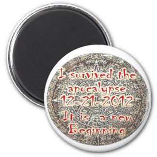 Sobreviví la apocalipsis 12-21-2012 imán redondo 5 cm