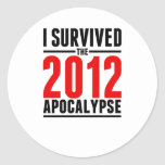 ¡Sobreviví la apocalipsis 2012! Pegatina Redonda