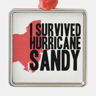 Sobreviví la camiseta de Sandy del huracán Adorno Navideño Cuadrado De Metal