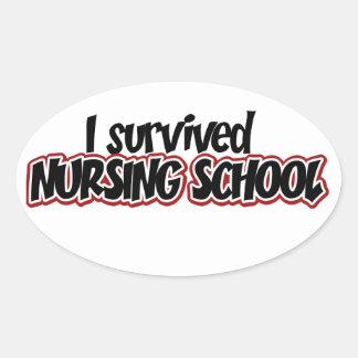 Sobreviví la escuela de enfermería pegatina ovalada