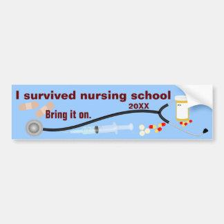 Sobreviví la escuela de enfermería pegatina para auto