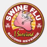 Sobreviví la gripe de los cerdos - H1N1 Etiqueta Redonda
