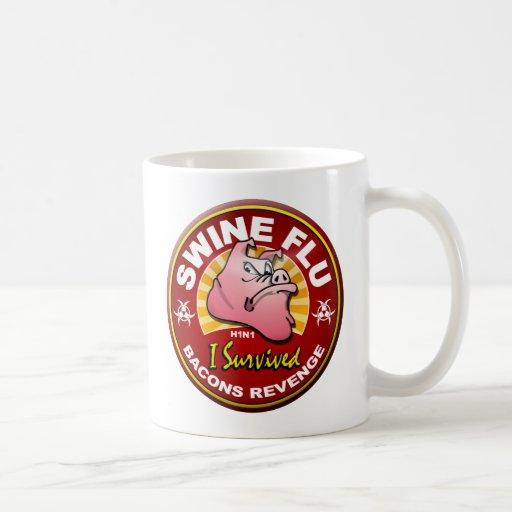 Sobreviví la gripe de los cerdos - H1N1 Taza De Café