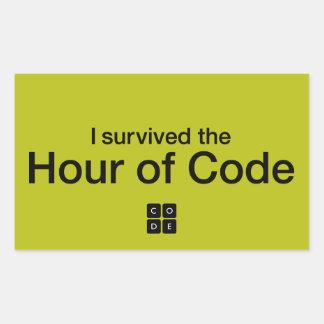 Sobreviví la hora de código pegatina rectangular