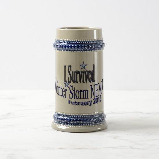 Sobreviví la tormenta Nemo del invierno Stein 2013 Tazas De Café
