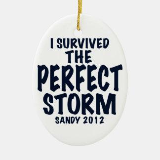 Sobreviví la tormenta perfecta, Sandy 2012, Adorno Navideño Ovalado De Cerámica