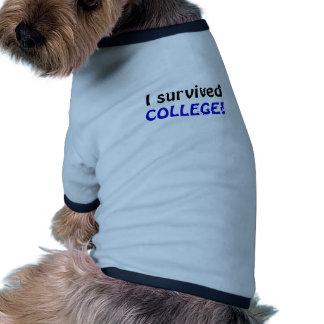Sobreviví la universidad camisetas de perrito