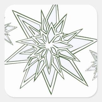 Sobreviví la ventisca de 2014 copos de nieve pegatina cuadrada