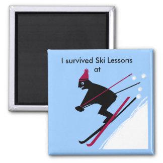 Sobreviví lecciones del esquí en imán cuadrado