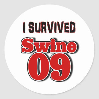 Sobreviví los cerdos 09 pegatina redonda