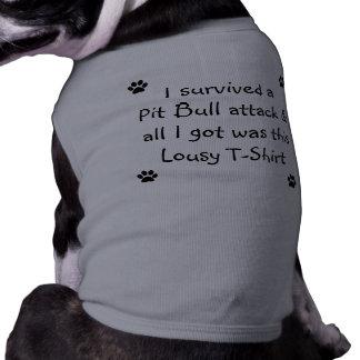 Sobreviví un ataque del pitbull… playera sin mangas para perro