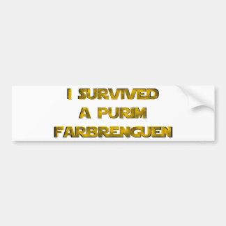 Sobreviví un Purim Farbrenguen Pegatina Para Auto