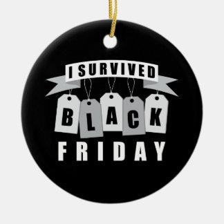Sobreviví viernes negro adorno redondo de cerámica