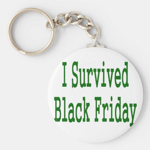 ¡Sobreviví viernes negro! Diseño verde de la tiend Llaveros