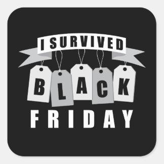 Sobreviví viernes negro pegatina cuadrada