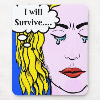Sobreviviré arte cómico del estilo de Lichtenstein Alfombrilla De Raton