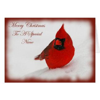 Sobrina del cardenal de los deseos del navidad tarjeta de felicitación
