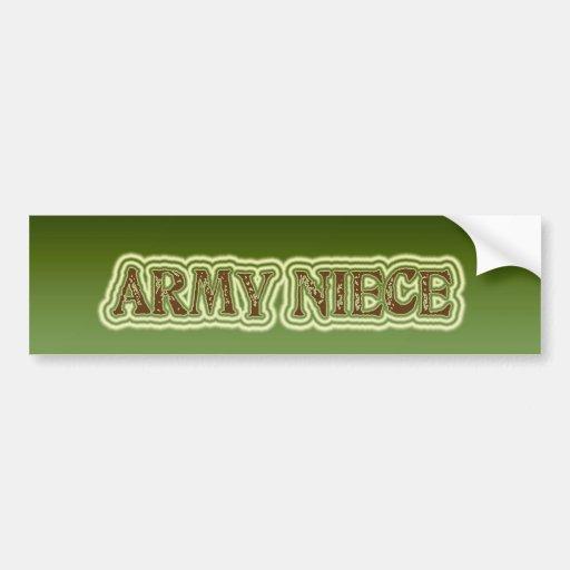 Sobrina del ejército etiqueta de parachoque