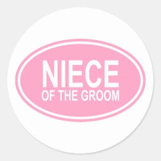 Sobrina del novio que casa rosa oval pegatina redonda