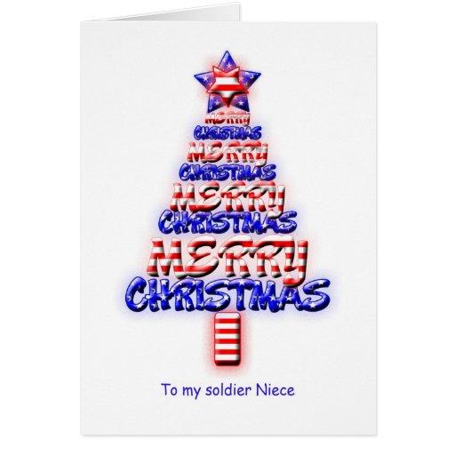 Sobrina del soldado, árbol de navidad patriótico tarjeta de felicitación