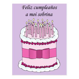 Sobrina feliz española de Birthdya, torta del Postales