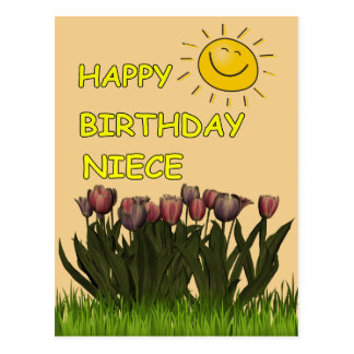 Sobrina Sun del feliz cumpleaños y flores Tarjeta Postal