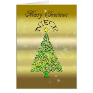 Sobrina, una tarjeta de Navidad del efecto del oro