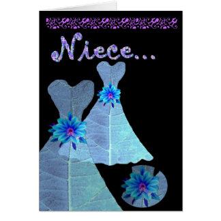 SOBRINA - vestido menor del AZUL de la invitación Tarjeta De Felicitación