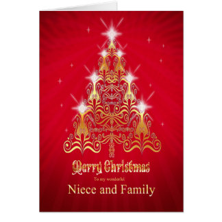 Sobrina y familia, tarjeta de Navidad del árbol de