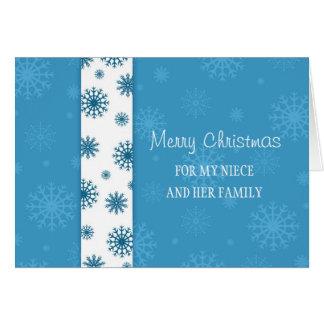 Sobrina y su tarjeta de las Felices Navidad de la