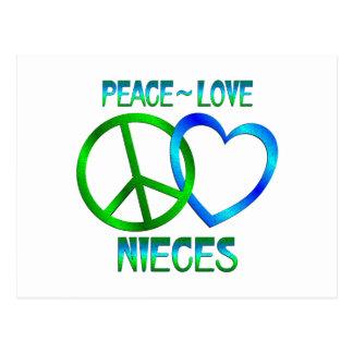 Sobrinas del amor de la paz postal