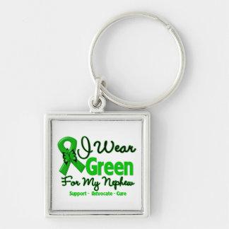 Sobrino - cinta verde de la conciencia llavero cuadrado plateado