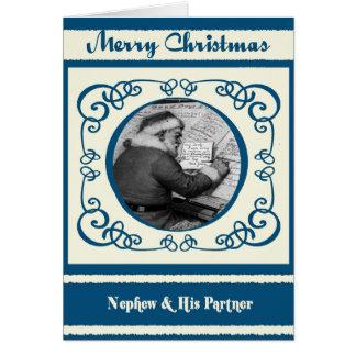 Sobrino de Santa del vintage y su navidad del Tarjeta De Felicitación
